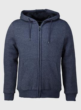 Navy Borg Fleece Lined Zip Through Hoodie