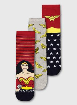 Wonder Woman Ankle Socks 3 Pack - 4-8