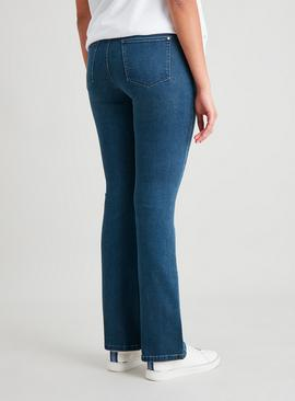 Dark Denim Bootcut Jeans With Stretch