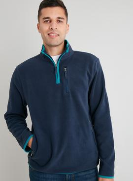 Navy Half Zip Fleece With Teal Trim