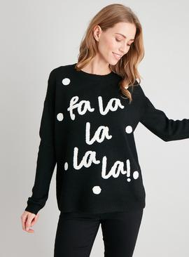 Christmas Black 'La La La La!' Slogan Jumper