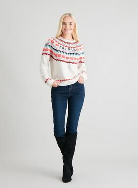 Christmas Cream 'La La' Fair Isle Jumper