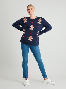 Christmas Navy Gingerbread Jumper
