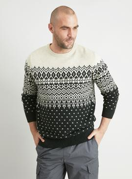 Cream & Green Traditional Fair Isle Jumper With Wool