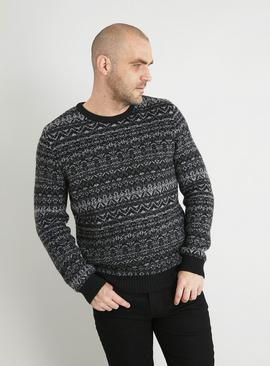 Black Fair Isle Crew Neck Jumper