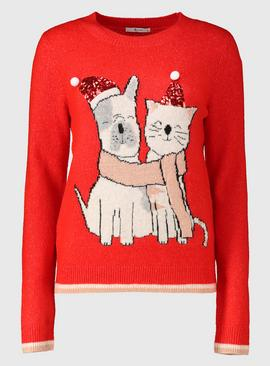 Christmas Mini Me Red Puppy & Kitten Jumper