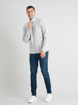 Grey Soft Knit Zip Through Fleece