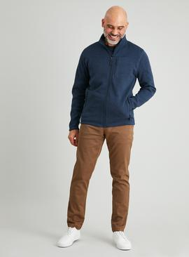Navy Soft Knit Zip-Through Sweatshirt