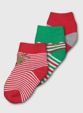 Christmas Terry Patterned Socks 3 Pack