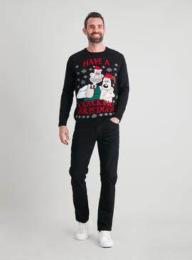 Christmas Wallace & Gromit Black Jumper