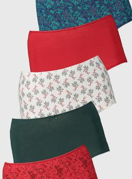 Christmas Red Full Knickers 5 Pack