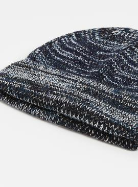 Blue Knitted Beanie Hat - One Size