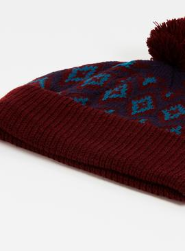 Oxblood Fair Isle Beanie Hat - One Size