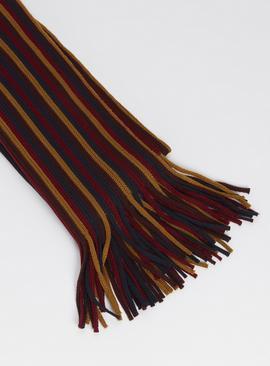 Burgundy, Ochre & Navy Stripe Scarf - One Size