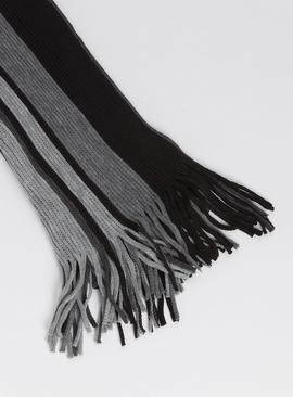 Black & Grey Stripe Scarf - One Size