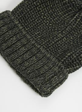 Khaki Twist Knit Beanie Hat - One Size