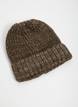 Brown Twist Knit Beanie Hat - One Size