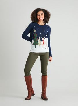 Christmas Grey Reindeer Scene Jumper