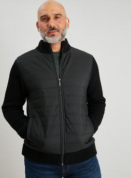 Black Padded Knitted Bomber Jacket