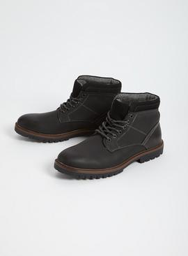 Grey Workman Faux Leather Boots