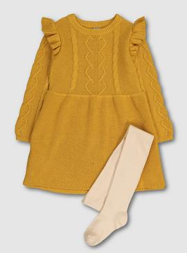 Mustard Knitted Dress With Tights