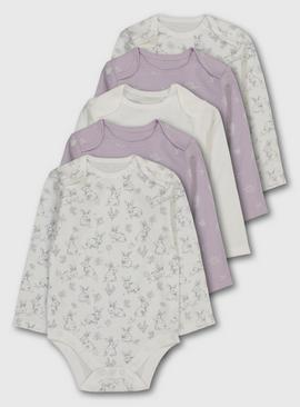 Lilac & Bunny Print Bodysuit 5 Pack