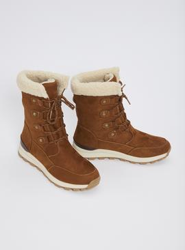 Sole Comfort Tan Borg Lined Hiker Boots