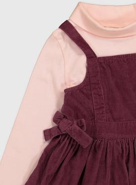 Plum Pinafore & Pink Roll Neck