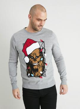 Christmas Star Wars Chewbacca Grey Jumper