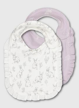White & Lilac Bunny Print Bibs 2 Pack - One Size
