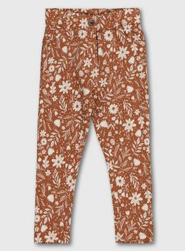 Orange Floral Jeggings