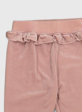 Pink Shiny Jersey Corduroy Trousers