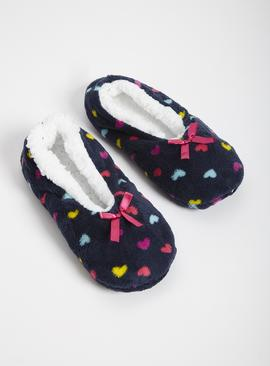 Navy Heart Print Footsies