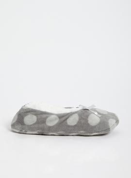 Grey Spot Print Footsies
