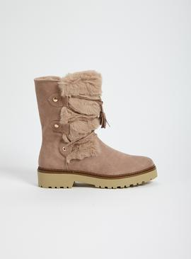 Sole Comfort Faux Fur Cross-Over Strap Winter Boots