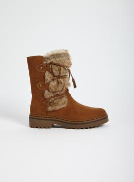Sole Comfort Tan Faux Fur Cross Over Boots