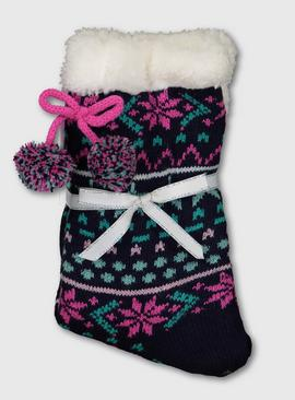 Christmas Navy Fair Isle Slipper Socks - 4-8