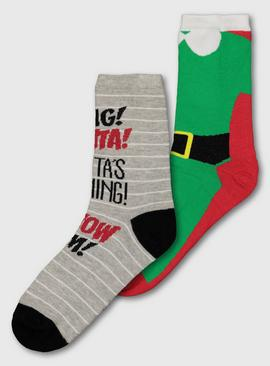 Elf Christmas Green & Grey Ankle Socks - 4-8