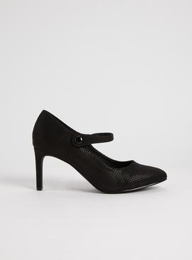 Sole Comfort Black Shimmer Mary Jane Court Shoes
