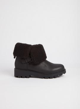Sole Comfort Black Folded Fur Faux Ankle Boots