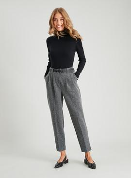 Grey Textured Ponte Tapered Leg Belted Trousers