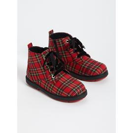 Red Tartan Lace Up Boots