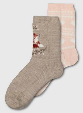 Fox & Fair Isle Thermal Ankle Socks 2 Pack - 4-8
