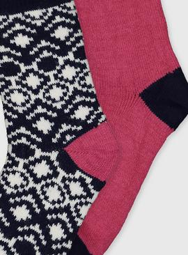 Geometric & Pink Thermal Socks 2 Pack - 4-8