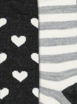 Heart & Stripe Thermal Knee High Socks 2 Pack - 4-8