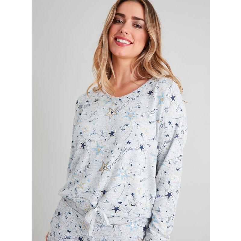 Grey Soft Knit Star Print Pyjama Top from Argos