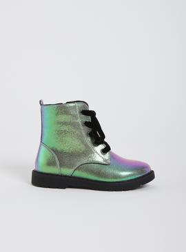 Green Iridescent Ankle Boots