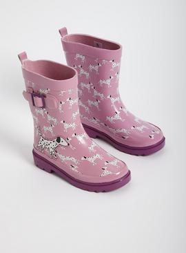 Pink Dalmatian Print Buckle Wellies