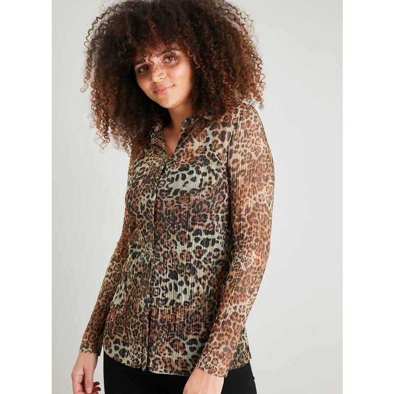Leopard Print Ribbed Sheer Shirt from Argos