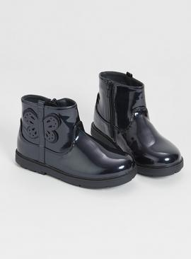 Navy Patent Butterfly Boots